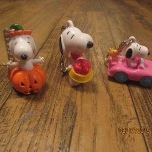 Snoopy Peanuts Keychains Bundle lot of 3 vintage